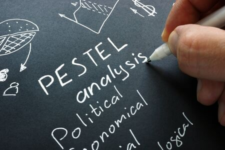 Photo for Hand writes PESTEL analysis also known as PESTLE or PEST. - Royalty Free Image