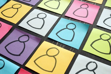 Photo pour Diversity and inclusion concept. Silhouettes of people on colorful sheets. - image libre de droit