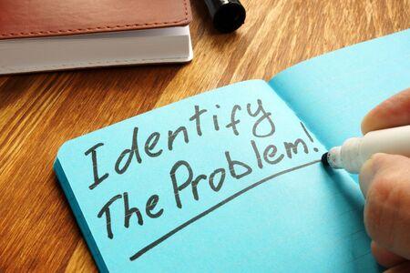 Photo pour Identify the problem sign on the blue page. - image libre de droit