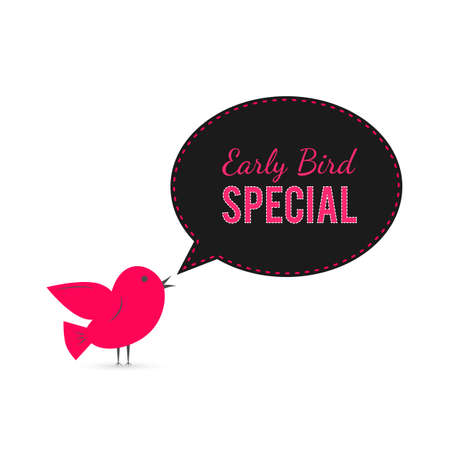 Illustration pour Early Bird special offer banner. Cute cartoon bird with speech bubble.  Discount or sale event poster. Social media marketing. Shop sale announcement. Easy to edit template for your business. - image libre de droit