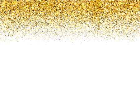 Illustration pour Falling Gold confetti border isolated on white. Golden dots dust vector background. Gold glitter texture effect. Easy to edit template for invitations, cards, party decorations, wedding stationery. - image libre de droit