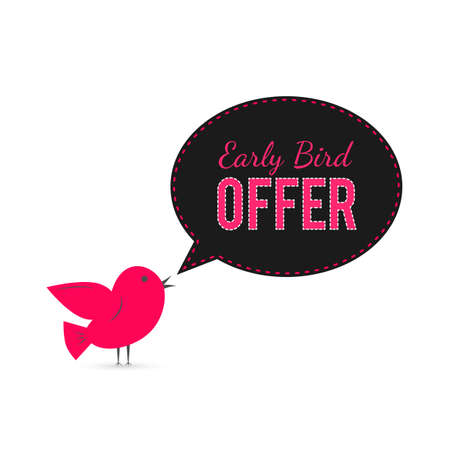 Illustration pour Early Bird offer banner. Cute cartoon bird with speech bubble.  Sale promotion poster. Social media marketing.  Easy to edit template for your business. - image libre de droit