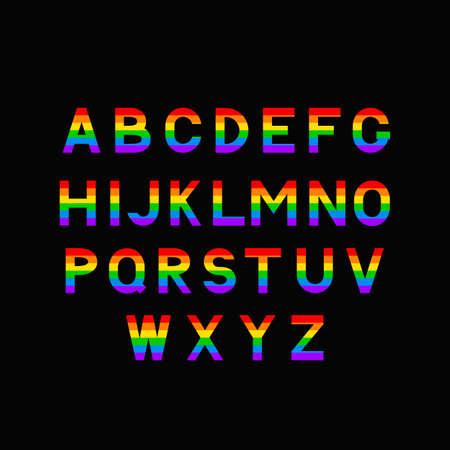 Illustration pour Rainbow alphabet. LGBT community typeface. - image libre de droit