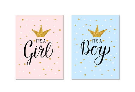 Illustration pour Gender Reveal banners It's a Girl and It's a Boy. Calligraphy lettering with gold glitter crown and confetti. Vector template for Baby shower party decoration, invitation, announcement ,  poster, etc. - image libre de droit