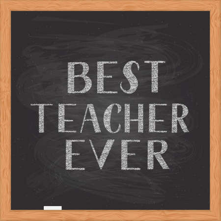 Illustration pour Best Teacher Ever hand written on chalkboard with wooden frame. Easy to edit vector template for Teacher s Day typography poster, banner, flyer, greeting card, postcard, party invitation, t-shirt, etc - image libre de droit