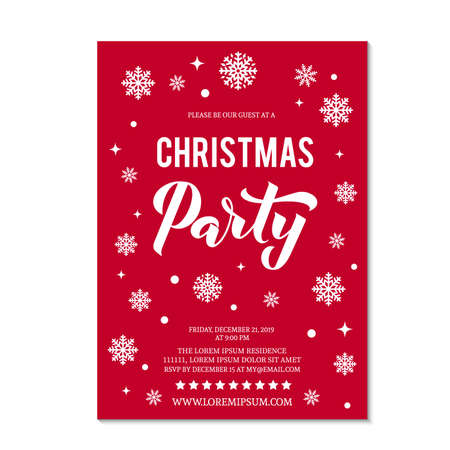 Illustration pour Christmas Party invitation with lettering and white snowflakes and dots on red background. Winter holidays celebration invite. Easy to edit vector template. - image libre de droit