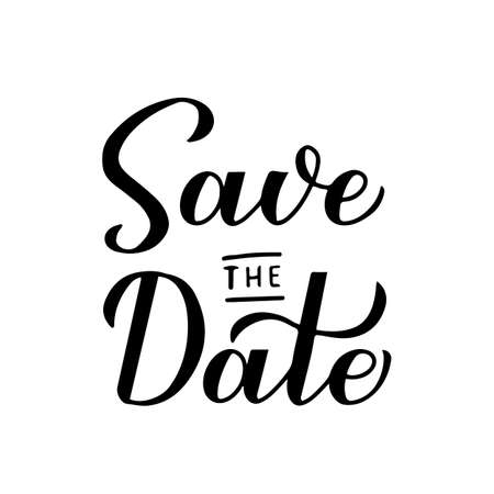 Illustration pour Save the date calligraphy hand lettering isolated on white. - image libre de droit