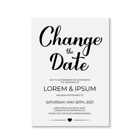 Illustration pour Change The Date card vector template. Postponed wedding due to quarantine coronavirus COVID-19. Calligraphy hand lettering isolated on white. Postponement of ceremony announcement. - image libre de droit