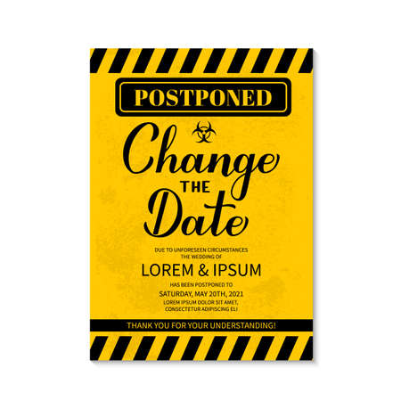 Illustration pour Change The Date card. Postponed wedding due to quarantine coronavirus COVID-19. Black and yellow grunge postponement of ceremony announcement vector template. - image libre de droit