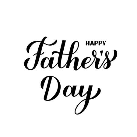 Illustration pour Happy Father s Day calligraphy hand lettering isolated on white. Father day celebration typography poster. Easy to edit vector template for banner, greeting card, flyer, postcard, party invitation - image libre de droit