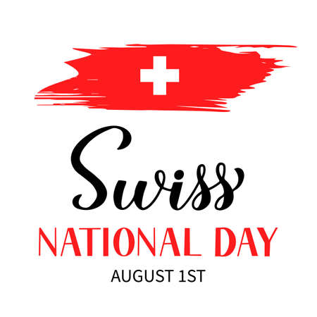 Illustration pour Switzerland National Day hand lettering with brush stroke flag. Swiss holiday typography poster. Easy to edit vector template for banner, flyer, sticker, shirt, greeting card, postcard, etc. - image libre de droit