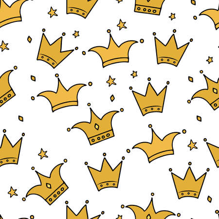 Ilustración de Hand drawn gold crown and stars seamless pattern. Little princess, luxury and glamor theme vector background. Easy to edit template for fabric, textile, wrapping paper, etc. - Imagen libre de derechos