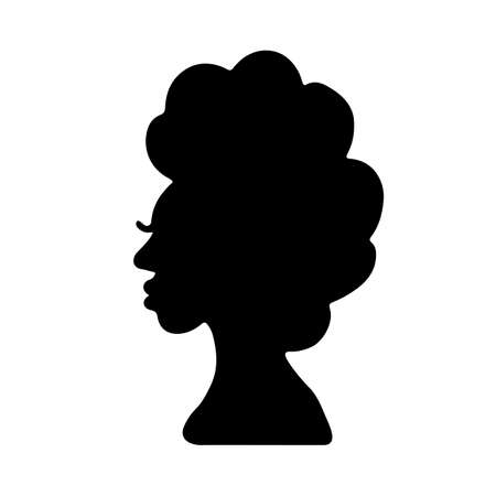 Illustration for African American woman silhouette with curly afro hair. Young black woman profile isolated on white. Vector illustration - Royalty Free Image