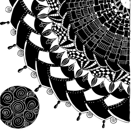 Vector illustration with mandala. quarter circle, repeating pattern with tops. Black drawing on white background. print for t-shirts. one small black circle filled with a pattern