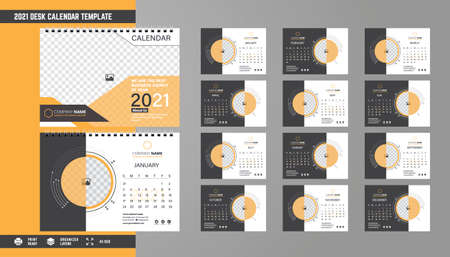 Ilustración de 2021 Desk Calendar Template Design - Imagen libre de derechos