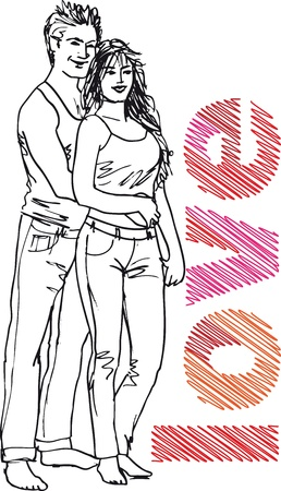 Sketch of couple. Vector illustration.