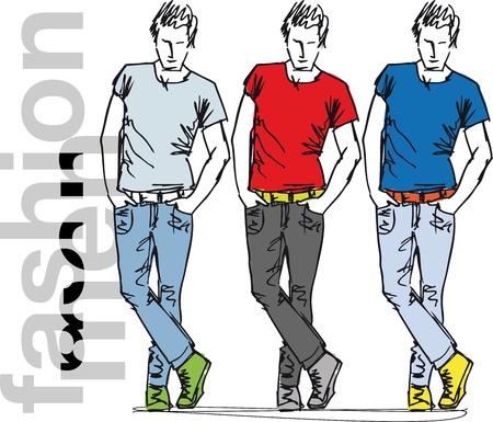 Sketch of fashion handsome men. Vector illustration