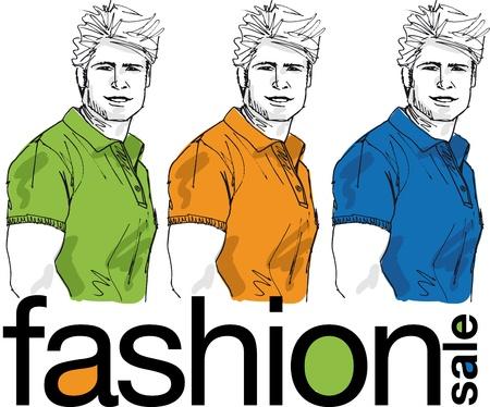 Fashion sale, Sketch of handsome men. Vector illustration