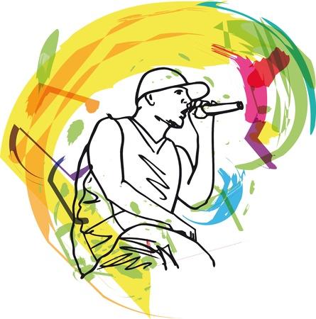 Sketch of hip hop singer singing into a microphone. illustration