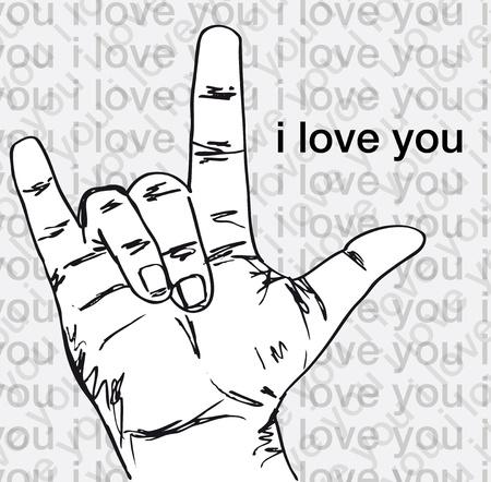 I love you hand symbolic gestures. Vector illustration