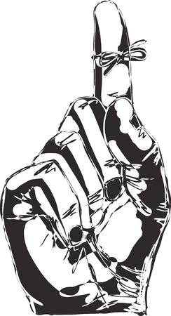 Illustration pour Sketch of Right hand with reminder string tied to index finger   - image libre de droit