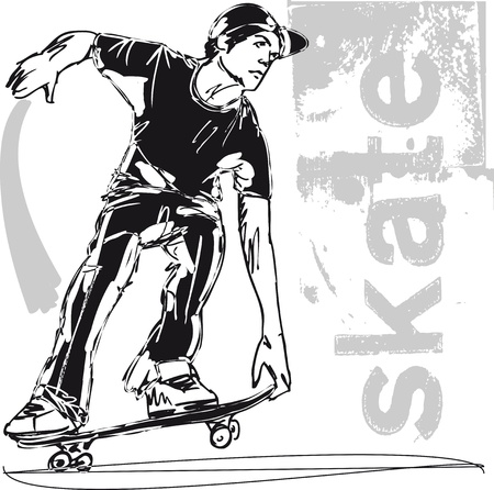 Sketch of Skateboard boy  Vector illustration