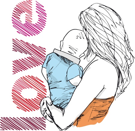 Illustration for Sketch of mom and baby, vector illustration  - Royalty Free Image