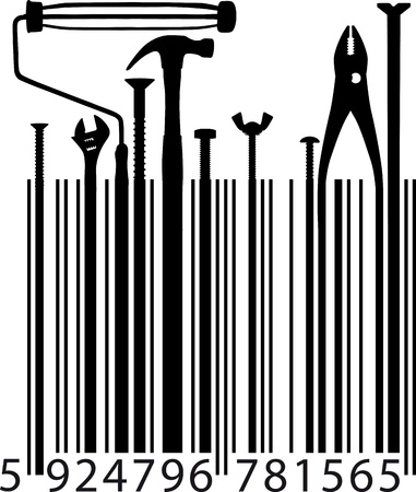 different tools on bar code  Vector illustration