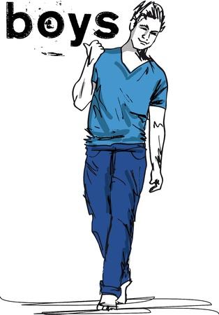 Sketch of fashion handsome boy. Vector illustration