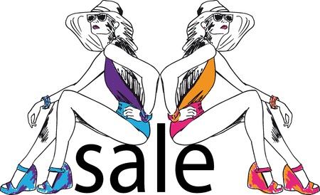 Sketch of Sexy fashion girls. Vector illustration