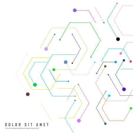 Illustration pour Hexagon connect pattern. Biology, science background. Circle shape. Vector design. Information technology - image libre de droit