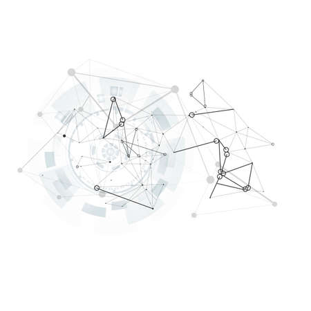 Illustration pour Abstract geometric background. 3d social network symbol. Vector design. Global network connection. Connection geometric background. Design element. Vector drawing - image libre de droit