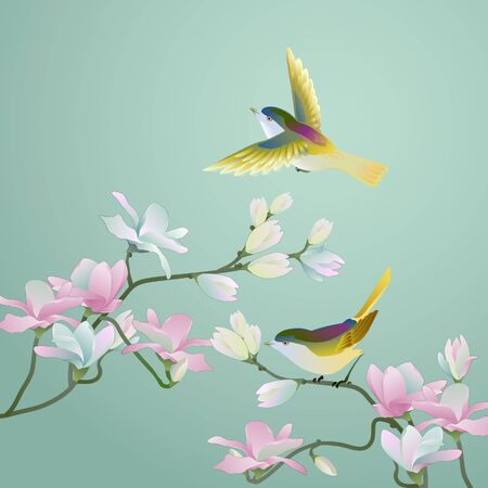 Illustration pour Chinese old style painting - Flower & birds - image libre de droit