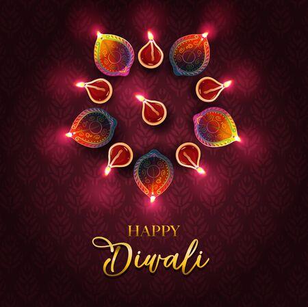 Illustration pour Festival of light - Diwali greetings design - image libre de droit