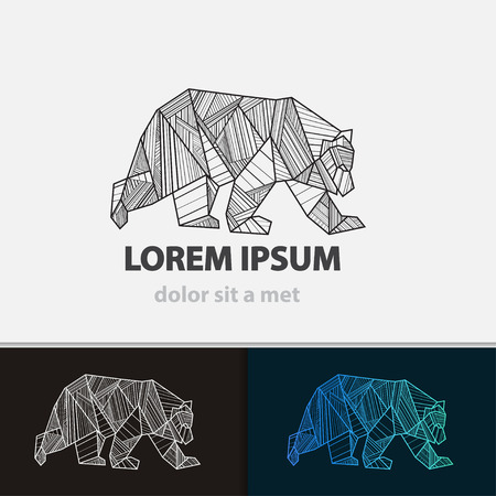 Creative stylized icon bear. Vector idea ferocious beast. Triangle shape with lines.のイラスト素材