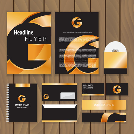 Metallic gold corporate identity. Trendy business concept with logo design template. Vector illustration.