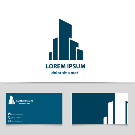 Illustration pour Building construction, logo design for your company. Creative logotype with business card template. - image libre de droit