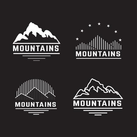 Illustration pour Vector set of mountain icons. - image libre de droit