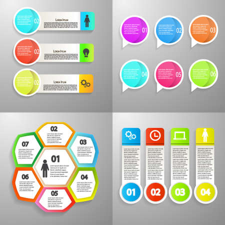 Illustration pour Collection of Infographic icon vector design template for presentation. Can be used for steps, options, business processes, workflow, diagram, flowchart concept, timeline, marketing icons. Vector illustration - image libre de droit