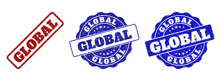 GLOBAL grunge stamp seals in red and blue colors. Vector GLOBAL labels with grunge surface. Graphic elements are rounded rectangles, rosettes, circles and text captions.