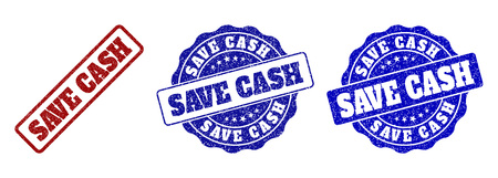 SAVE CASH scratched stamp seals in red and blue colors. Vector SAVE CASH watermarks with grainy effect. Graphic elements are rounded rectangles, rosettes, circles and text captions.
