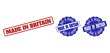 MADE IN BRITAIN scratched stamp seals in red and blue colors. Vector MADE IN BRITAIN labels with dirty surface. Graphic elements are rounded rectangles, rosettes, circles and text tags.