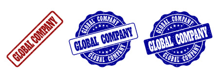 GLOBAL COMPANY grunge stamp seals in red and blue colors. Vector GLOBAL COMPANY imprints with grunge surface. Graphic elements are rounded rectangles, rosettes, circles and text labels.