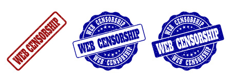 WEB CENSORSHIP scratched stamp seals in red and blue colors. Vector WEB CENSORSHIP labels with dirty surface. Graphic elements are rounded rectangles, rosettes, circles and text labels.