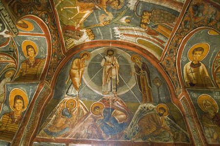 Religious ceiling paintings at Goreme Open Air Museum, Cappadocia, Turkey