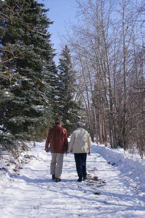 Senior couple walking in the winter