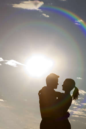 Silhouetted embrace