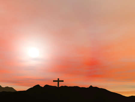 Crucifixion; A cross with a red sky