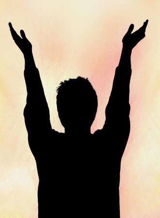 Man with hands raised