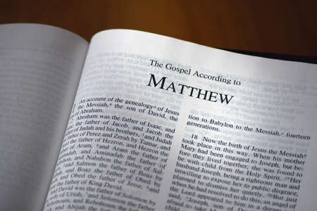 The Bible opened to the book of Matthew
